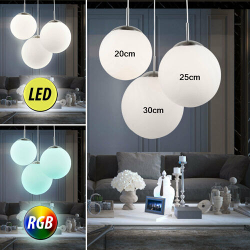 RGB LED Deckenlampen Esszimmer Farbwechsel Fernbedienung Glaskugel Hängeleuchten