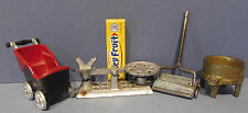 4 VINTAGE KILGORE OLD CAST IRON TOYS, SWEEPER * WASHER * BABY BUGGY & SCALE T555
