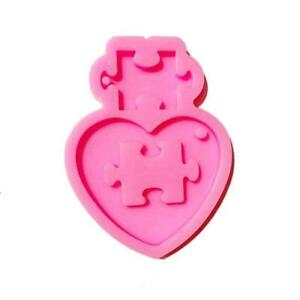 Glossy Heart Puzzle Jigsaw Part Component Epoxy Resin Keychain Silicone Mold