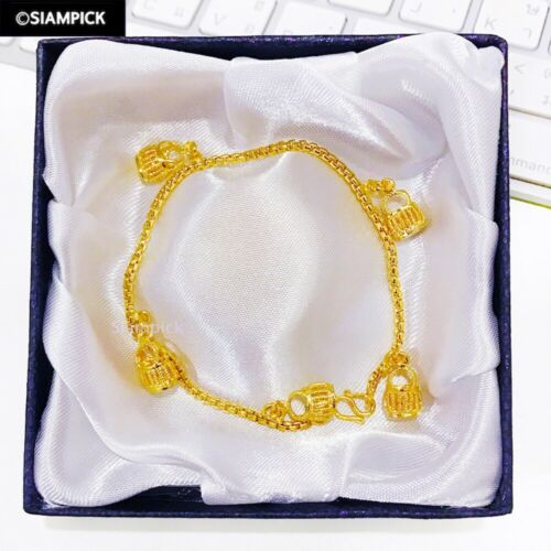 Details about  /Gold Box Chain Bracelet THAI Baht 22K 23K 24K Yellow Gold Plated Jewelry Women
