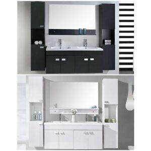 Mobile bagno arredo moderno bianco o nero sospeso doppi for Colonne bagno moderne