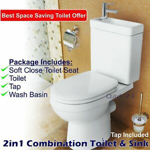 Image Is Loading Combo 2in1 Combination Unit Toilet Sink Wash Basin