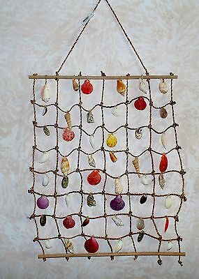 "18'' X 24"" ROPE & SHELL WALL HANGING SEA SHELL DECOR CORAL NAUTICAL TROPICAL"