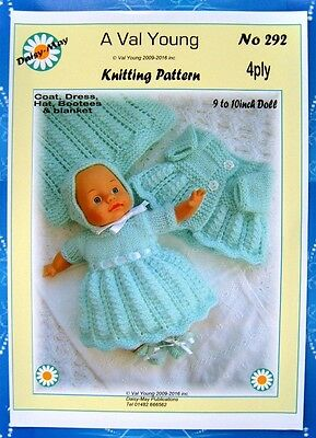 "DOLLS KNITTING PATTERN  No 292 by Val Young to fit  9/""-10/"" doll  4ply yarn"