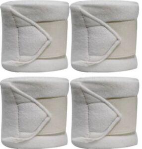 WHITE-Fleece-Polo-Leg-Wraps-Set-of-Four-NEW-HORSE-TACK