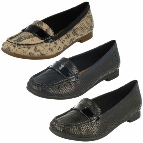 LADIES CLARKS SNAKE EFFECT FLAT PUMPS CASUAL SLIP ON LOAFER SHOES ATOMIC LADY