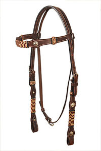 Western-Dark-Oil-Rawhide-Braided-Headstall-With-Small-Ingraved-Concho
