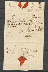 1818-Lettre-en-Port-paye-P12P-Aix-puis-034-a-detaxer-034-pour-Franchise-Rare-P5200