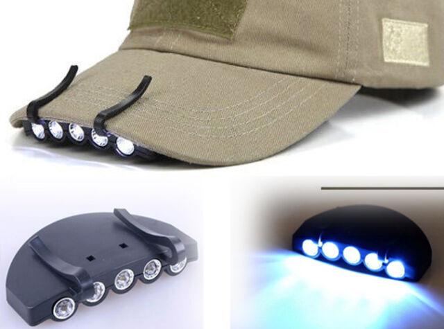 LED Cap Light Clip on Hat Brim Camping Fishing Bike 5 Bulb Headlamp Battery  S19 fec692f797c8