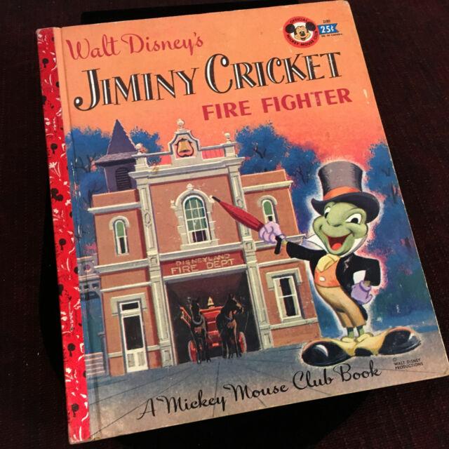 Jiminy Cricket Fire Fighter Book 1956 Disneyland Vintage Walt Disney Apartment