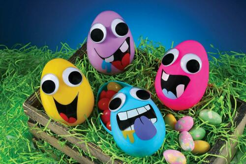 Easter Decorations Set of 4 Large Fillable Crazy Funny Googly Eyes Easter Eggs