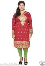 "PLUS SIZES (4XL-50"") Women Indian Kurta Kurti Top Party Tunic Shirt Dress108B"