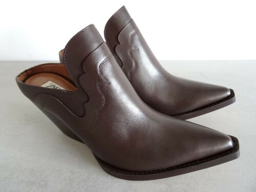Leather Ankle Brown style Usa Mule Boots Size 5 7 5 Uk 38 Zara Eu Cowboy Studio Yqnq5E