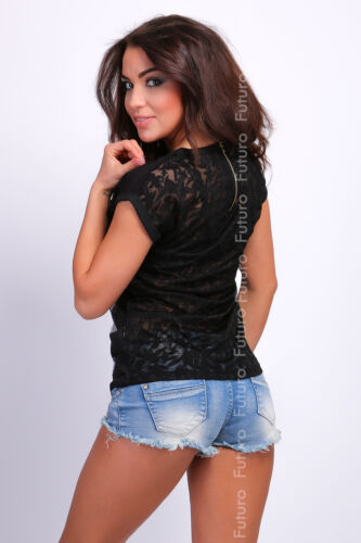 Womens Black T-Shirt Madison Print Lacy Back With Zipper Top Size 8-12 FB77