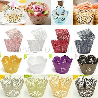 12/24X XMAS Cup Cake Wrappers Wrap Case Wedding Birthday Baby Shower Decorating