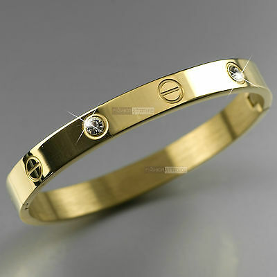 YELLOW GOLD BRACELET STAINLESS STEEL MENS WOMENS CRYSTAL OVAL BANGLE