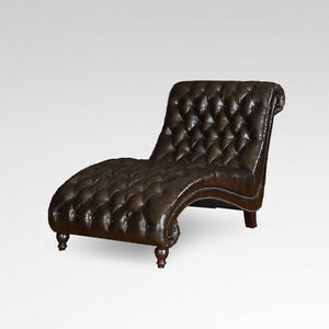Leather chaise lounge heirloom quality vintage tuft style for Antique leather chaise lounge