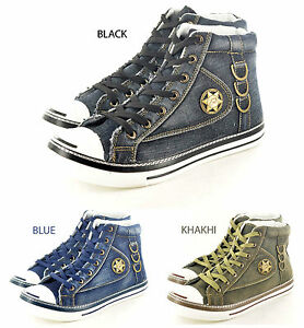 New-Mens-Boys-High-Hi-TopTrainers-Canvas-Shoes-Ankle-Boots-In-UK-Sizes-7-12
