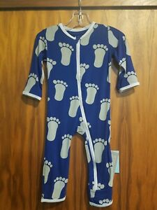 KicKee Pants Bamboo Footie with Zipper Apricot Bead Lizard 4T   NWT