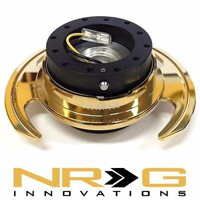NRG 3.0 Gen Steering Wheel Quick Release Hub - Black / Gold Chrome Ring