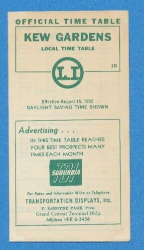 1952 Long Island Railroad LIRR Kew Gardens Local Time Table Schedule August