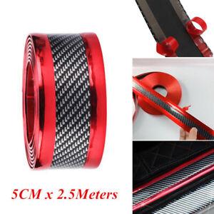 2.5m Car Door Sill Scuff Pedal Anti-scratch Protector Strips Carbon Fiber Red