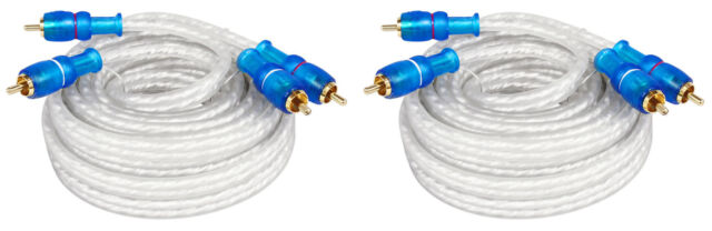 (2) Rockville MRCA25 25 Foot Twisted Pair Marine/Boat RCA Cables 100% Copper