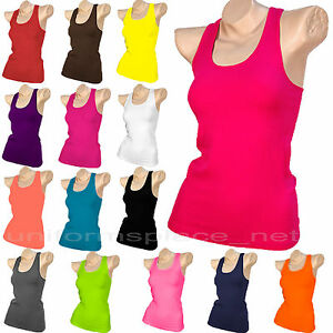 lowest discount best prices 100% top quality Details about Womens Racerback Tank Top Cami Sleeveless Ribbed T-Shirt  Workout Yoga Tops TT400