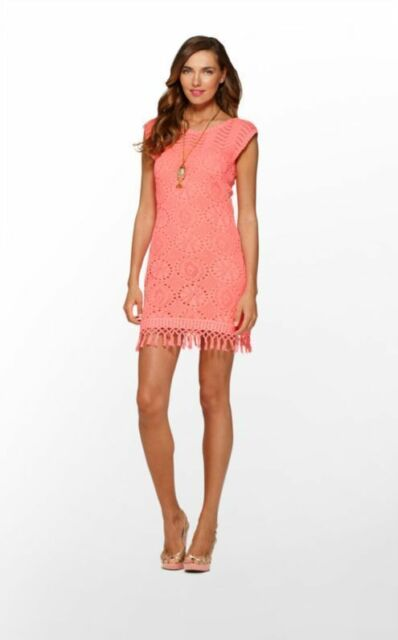 5ddb567d3bcac9 New Women Lilly Pulitzer Adabelle Yummy Melon Sweater Crochet Dress Size M