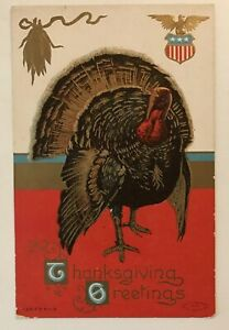 Colorful-Turkey-with-Corn-Antique-Embossed-PATRIOTIC-THANKSGIVING-Postcard-b390