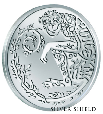 2016 1 oz 999 Year of the Monkey V2 BU Silver Shield Group SSG Round 777