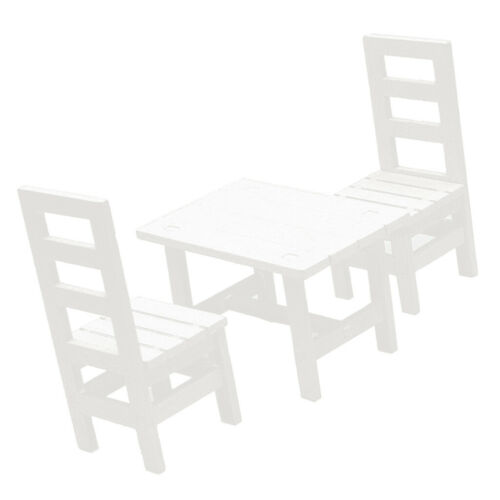 1:6 Miniature Wooden Dining Table Chair Set BJD Dolls House DIY Making White