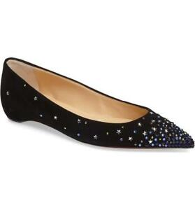 new product 21ea2 3db3b Details about Christian Louboutin GRAVITANITA Strar Crystal Embellished  Suede Flat Shoes $995