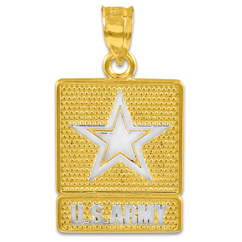 Fine Two Tone Yellow gold U.S. Army Square Pendant