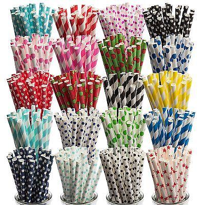 x25 Striped Paper Drinking Straws, Retro  Vintage Cake Pop Lollipop Sticks