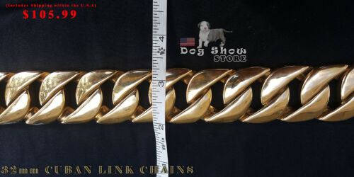 Cuban Gold pet Chain 32mm Dog Show Collar 316L Stainless Steel-AUTHORIZED SELLER