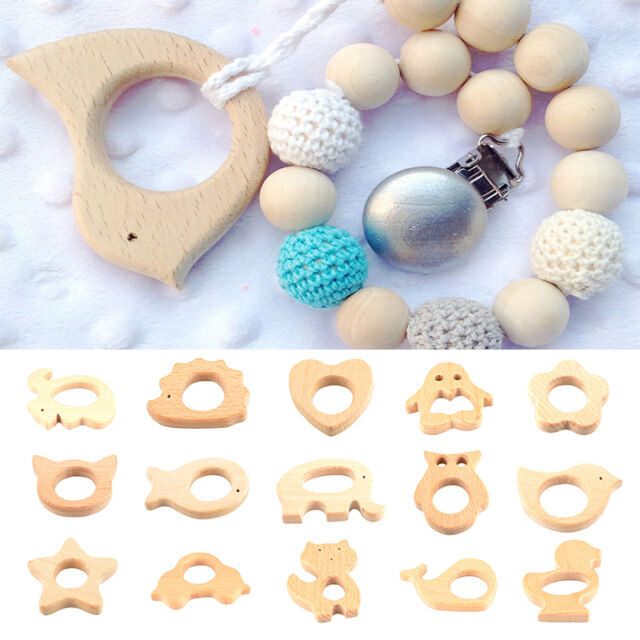 Handmade Natural Wooden Cute Animal Shape Baby Teether Teething Toy Gift