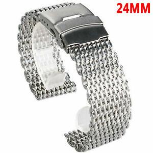Universal-Shark-Mesh-Uhrenarmband-Armband-Edelstahl-Matt-Poliert-18mm-24mm