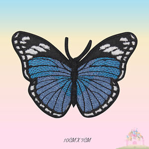 Butterfly-Blue-Embroidered-Iron-On-Patch-Butterfly-Sew-On-Badge-Applique
