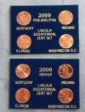 2009 Lincoln Bicentennial Penny 8 pc. Set. P&D Mint. Blue Packaging