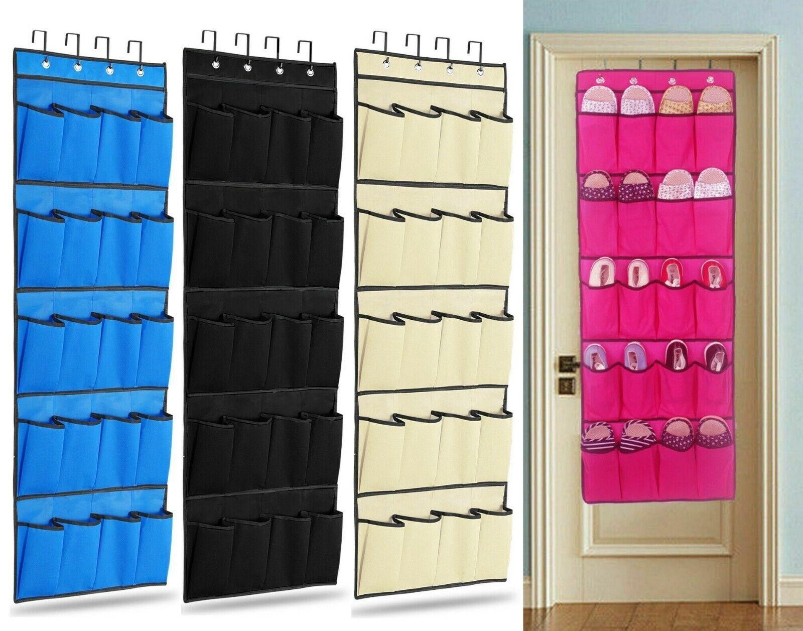 20 Pocket  Shoe Rack Hanging Over Door Tidy Organiser Space Storage Saver 4color
