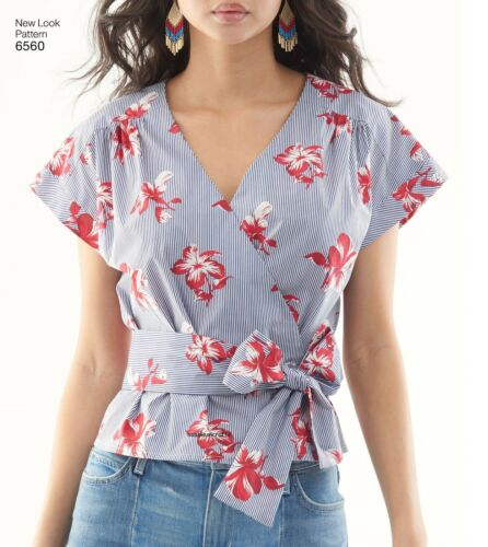 6560 MISSES/' WRAP TOP with sleeve variation Sewing pattern NEW LOOK Sizes 8-18
