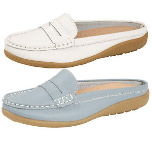 Womens-ladies-slip-on-moccasins-leather-open-back-loafers-comfort-boat-shoe-size