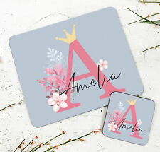 Personalised Kids New Peach Retro Wooden Glossy Placemat and Coaster Set