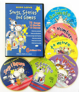Children-039-s-Songs-Kids-Stories-amp-Party-6-CDs-rhymes-songs-stories-amp-games-NEW