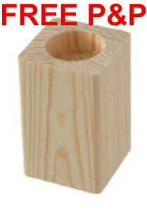 CHOOSE YOUR SIZE PLAIN WOOD WOODEN CANDLES HOLDER CANDLESTICK DECOUPAGE CRAFT