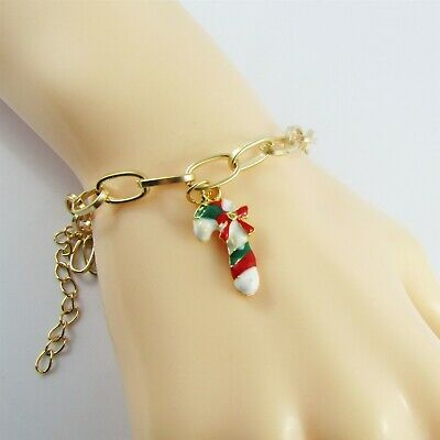 925 Sterling Silver Stocking Candy Cane Crystal Bead for European Charm Bracelet
