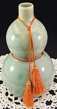 Chinese Celedon Green Double Gourd Vase with Silk Tassel Signed on Bottom