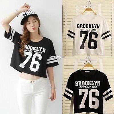 Sexy Women Ladies O-Neck Short Sleeve Letter print Loose T-shirt Blouse ES9P