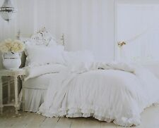 Rachel Ashwell Simply Shabby Chic NEW White Poplin Ruffle Lace Duvet Set KING